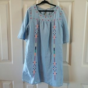 Crazy 8 Girls Chambray Embroidered Dress